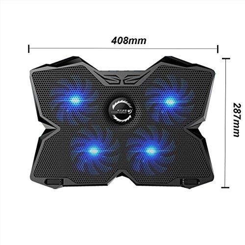 """SHIQUNC Laptop Kühler,COOL 12""""-17"""" Laptop Cooling Pad mit Speed Adjuster, 4 USB Powered Fans,Ultra-Ruhig Tragbare Kühlung Ständer"""