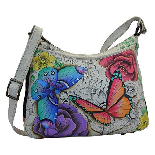 Anuschka handbemalte Ledertasche, Schultertasche für Damen, Geschenk für Frauen, Handgefertigte Handtasche-Umhängetasche Hobo (Floral Paradise 7241 FPD) (Anuschka Hobo)
