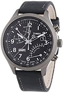 Timex Herren-Armbanduhr XL Analog Quarz Leder T2N930