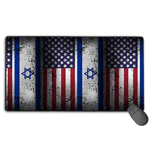 liulishuan Extended Large Gaming Mouse Pad/Mat, American Israeli Flag Custom Mouse Pads with Non-Slip Rubber Base for Computer Laptop Keyboard Desktop, Durable Stitched Edges Unisex2 -