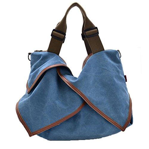 WU ZHI WU ZHI Damen-Segeltuch-Beutel-Handtaschen-Schulter-Beutel Kurier-Beutel Großes Kapazitäts-Multifunktions Blue