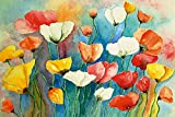 Artland Qualitätsbilder I Poster Kunstdruck Bilder 90 x 60 cm Botanik Blumen Mohnblume Malerei Bunt C3SX Bunter Mohn