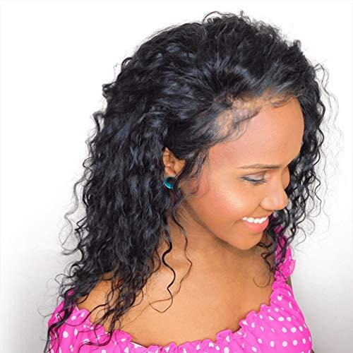 LONG&LONG Lockiges Haar Perücken für schwarz Frauen,gelockt Perücke, kinkys Curly Afro Perücken Echthaar Spitze vorne lang flauschig, gewellt, volle Synthetik Perücken mit ()