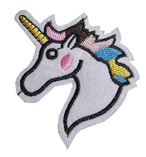 Unicornio de hierro sobre/para coser en parche bordado Applique bordado de corazón única de transferencia de diseño de animales