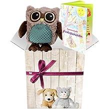 Warmies Geschenkset - Kuscheltier Minis Eule (braun) mit Lavendelduft Wärmekissen + Edle Geschenkverpackung + Büchlein mit spannenden Kindergeschichten