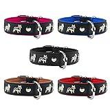 Lederhalsband Französische Bulldogge Hundehalsband Echtlederhalsband Halsband 55cm / 30mm Rot