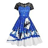 Weihnachten Kleid Damen Elegant Abendkleid Vintage Weihnachten Partykleid Mesh Brautkleid Retro Cocktailkleid Rockabilly Kleid Faltenrock Lang Kleider S-2XL