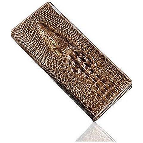 Da Wu Jia Ladies borsetta di alta qualità di lusso donne Wallet Coin titolari di portafogli in vera pelle 3d alligatore goffratura Ladies coccodrillo frizione lungo i portafogli , blu scuro