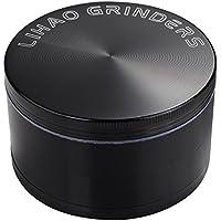"""LIHAO 3"""" Grinder Metálico para Hierbas y Especias (Negro, 4 Piezas 75mm)"""
