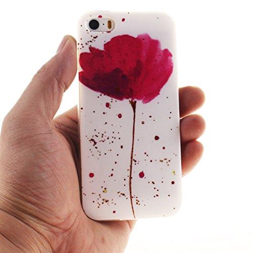 XiaoXiMi Coque iPhone SE Etui en Silicone Caoutchouc Gel pour iPhone SE Soft TPU Case Cover Bumper Housse Souple de Protection Coque Mince Léger Etui Flexible Lisse Couverture Anti Rayure Anti Choc Ho Fleur Rose