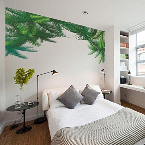 ber Grün lässt Schlafzimmer Wohnzimmer DIY Pflanze abnehmbare Wand Aufkleber Familie Home Aufkleber Wand Kunst Home Decor Schlafzimmer Wohnzimmer Kinderzimmer (Grün) (Wand-kunst-aufkleber Pflanzen)