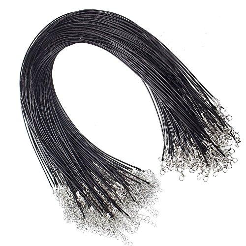 JUANYA 100Stück gewachste Halsketten mit Karabinerverschluss für Schmuckherstellung 45,7cm 1,5mm Handwerk schwarz