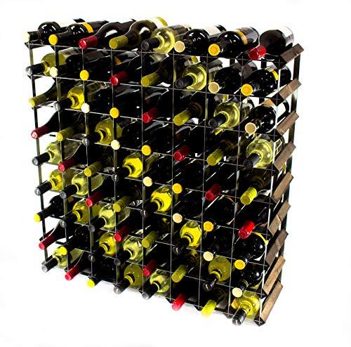 Klassische 72 Flasche Eiche dunkel gebeiztem Holz und verzinktem Metall Weinregal Selbstmontage (Dunklen Holz Klassischen)