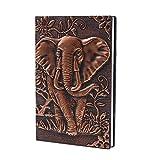 ZYWJUGE Notizbuch/Tagebuch/Reisetagebuch, geprägtes Leder im Elefanten-Design, Vintage-Look A5 Red Copper