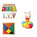 #7: Early Learning Education Toy - Set of 3 Kids Toddler Number Math Stick Game Box + Wooden Worm Puzzle Toy + Tangram Puzzle - Early Preschool Educational Toys, Montessori Toys by KARP