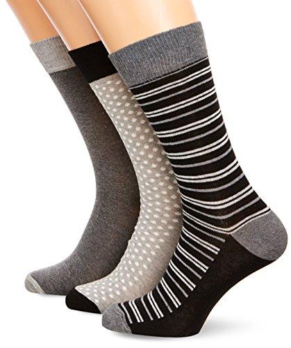 french-connection-calcetines-drapeado-para-hombre-pack-de-3-color-multicoloured-plain-stripe-spot-gr