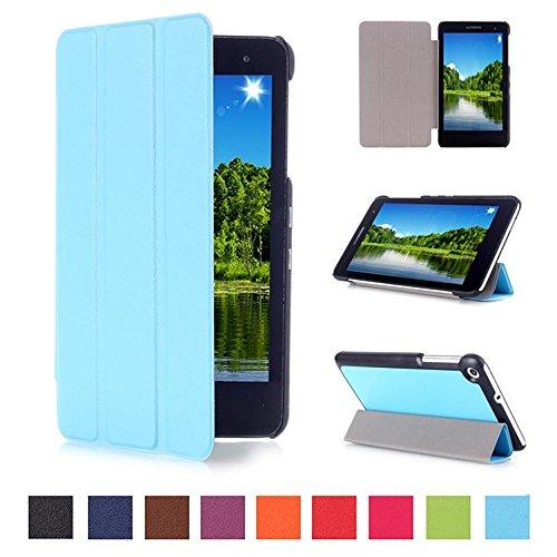 DETUOSI Huawei T1 7.0 Carcasa Piel,Azul Claro Ultra Slim Protección Funda de Cuero Piel Book Cover Smart Case para 7'' Huawei MediaPad T1 7.0 Tablet Funda Carcasa Caso con Soporte