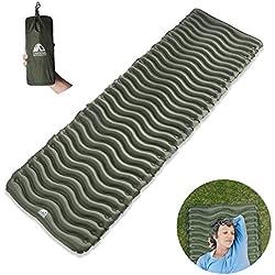 Unigear Esterilla Inflable Portatíl Colchón de Aire para Camping Acampa Colchones Hinchable Utraligero y Resistente Cama Colchoneta de Dormir al Aire Libre Viaje Playa (Verde)