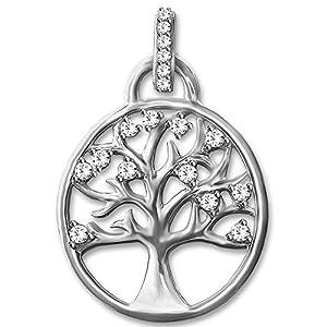 Clever Schmuck Silberner Anhänger Lebensbaum mit vielen Zirkonias STERLING SILBER 925