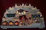 3D Schwibbogen 68cm Weihnachtsmarkt mit Baum im Erzgebirge - Handwerkskunst aus dem Erzgebirge
