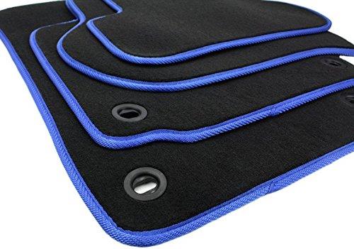 NUEVO. Felpudos Volkswagen Golf 56JETTA Scirocco Original Calidad alfombrillas Velour Blue Motion GTI R32R20Auto Alfombras 4Piezas Negro/Azul Giratorio mordaza