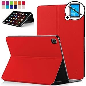 Forefront Cases Xiaomi Mi Pad 3 Étui Housse Coque Smart Case Cover Stand - Ultra Mince Protection Complète et Fonction Smart Veille/Réveil Automatique + Stylet et L'écran Protecteur (Rouge)