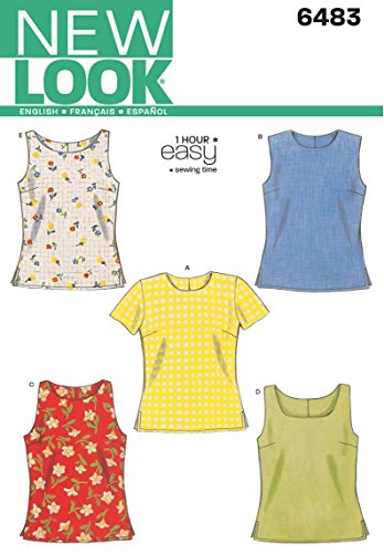 New Look Sewing Pattern 6483: Misses Tops, Size A, A (A (6-8-10-12-14-16)