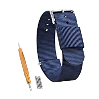 RANDON Premium Watch Bands Ballistic Nylon NATO Watch Strap Stainless Steel Buckle Choice of Color & Width(20mm, 22mm, 24mm) (Navy Blue, 20mm)