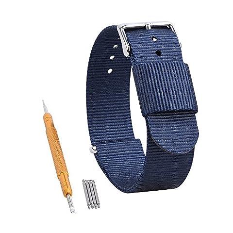 Randon Premium Bracelet en nylon balistique pour montre Boucle en acier inoxydable Couleur et largeur au choix (20mm, 22mm, 24mm), bleu marine
