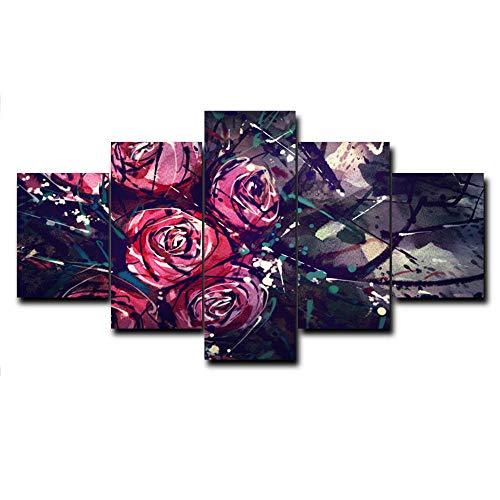 HXZFF Image Printed on Canvas 5 Piece Set HD Scenario Moderno Arte Poster Dipinti Decorazione murale Nessuna Cornice Soggiorno Camera da Letto Ufficio Pittura 150x80 cm La Pittura a Olio è Aumentato