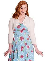 Hell Bunny 50s Plain Bolero Cardigan Top Natasha Fluffy Knit White All Sizes