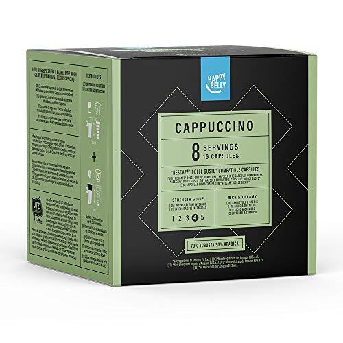 Marca Amazon- Happy Belly - Cápsulas de café Cappuccino compatibles con NESCAFÉ* DOLCE GUSTO*, UTZ,  3x 16 cápsulas (24 porciones)