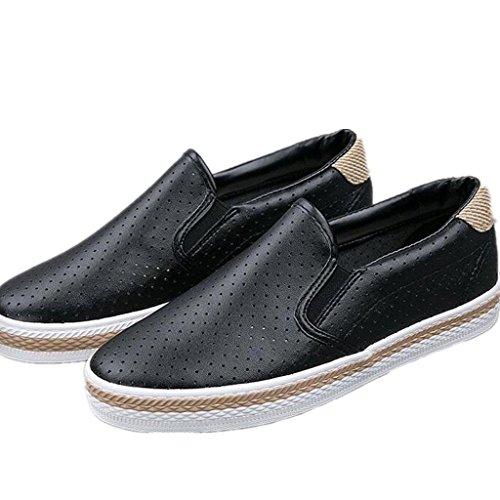 SHFANG Lady Shoes Semplicemente scarpe da ginnastica Rete di cuoio Movimento di svago Comodo studenti Daily Black White Black