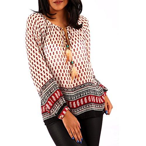 Damen Chiffon Bluse Hippie Blusenshirt Ethno Style Oversize Shirt Rot/Creme