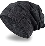 Grin&Bear Long Slouch Beanie Grobstrick Mütze mit Teddy Fleece gefüttert schwarz M11-6