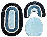 Badgarnitur 3 tlg. Set 80 x 50 cm oval dunkelblau blau weiß mit Glitzer, 2cm Flor, WC Vorleger mit Ausschnitt für Stand-WC