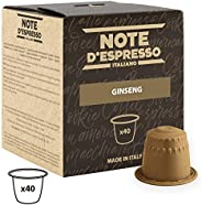 Note d'Espresso Ginseng Instant Capsules 4.3g x 40 Capsules Exclusively Compatible with Nespresso* machines