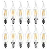 LED Kerze Lampe E14 Windstoß, 470 lm, warmweiß 2700K, ersetzt 40 Watt, nicht dimmbar, Classic Kerzenform Filament, klar (12er Pack) - LVWIT