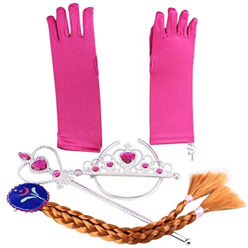 Accesorios de disfraz de Elsa princesa de Hielo - conjunto de guantes, tiara, varita mágica y trenza para niñas de 2 - 9 años - Rosa / Trenza Marrón