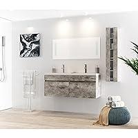 alban salle de bain complete double vasque 120 cm gris - Lavabo Double Salle De Bain