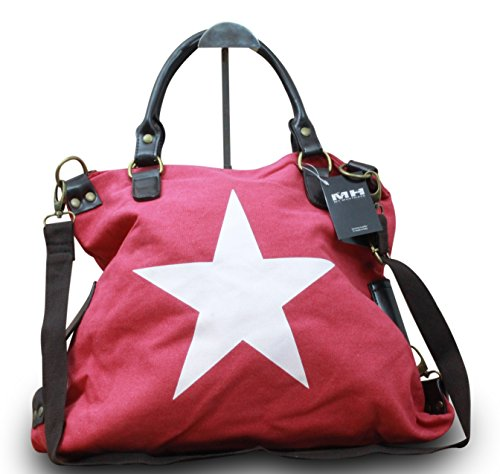My-Musthave, Borsa tote donna Rosa Rosa Stern Weiß Centre Rot Stern Weiß