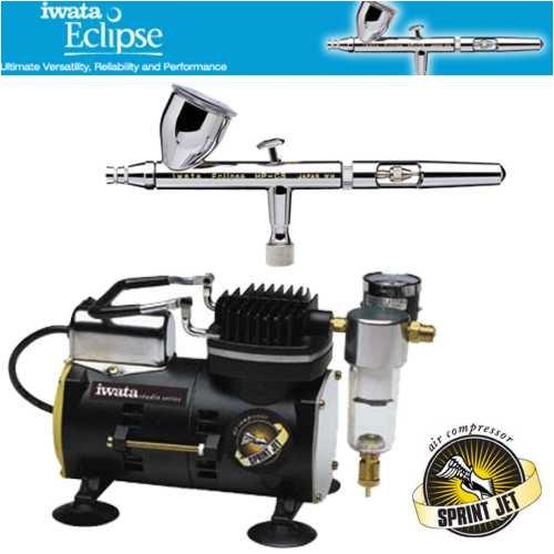 Preisvergleich Produktbild Iwata Eclipse HP-CS Airbrushing System with Sprint Jet Air Compressor by Iwata
