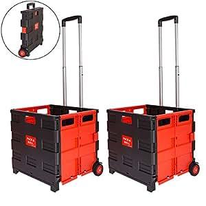 rman 2 st ck einkaufstrolley klappbar einkaufsroller bis 35kg und 45l verstellbarer griff. Black Bedroom Furniture Sets. Home Design Ideas