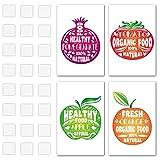 Vegan und gesunde Poster Früchte Designs mit Motivational Zitate zu inspirieren Sie zu essen in gesündere Art–Perfekt für Dekorieren Orten, wo Sie Essen gesund und Bio–Doppelseitiges Montage-Klebeband