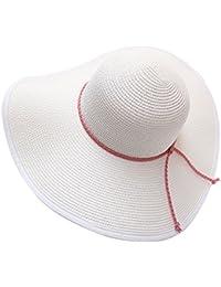EEVASS Donne Di Estate Grande Tesa Larga Pieghevole Floscio Cappello Della  Spiaggia del Cappello di Paglia 7d3e54e88dec