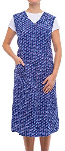 Tobeni Damen Kittelschürze Knopf-Kittel lang in 100% Baumwolle ohne Arm mit Taschen Farbe Design 37 Grösse 56 - Lange Kittel