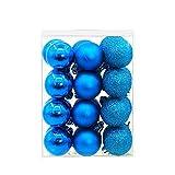 KINGKO 24 Stücke 3 cm Weihnachtskugeln Christbaumschmuck Dekorationen Hängend Ornament Decor (Dunkelblau)