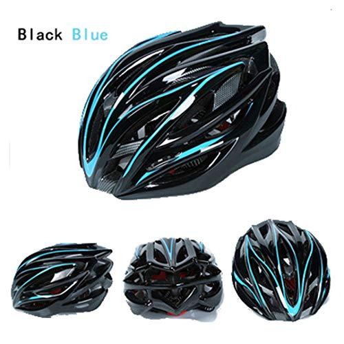 DEHPOOG Fahrradhelm 54-62 cm 15 Lüftungsöffnungen Sicherheit MTB Fahrradhelm EPS PC Integral geformte Rennradhelme für Männer und Frauen Black Blue