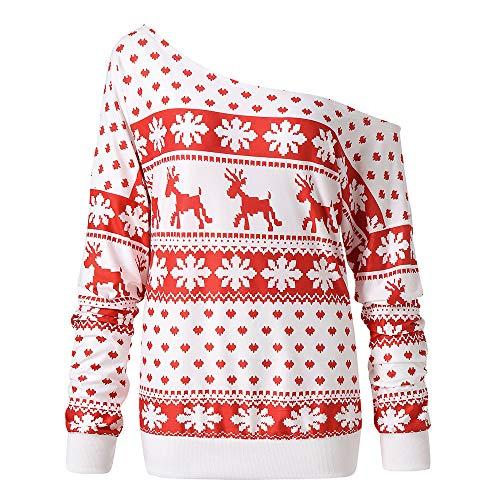 TEBAISE Weihnachts Frauen-Damen Anker Weg von der Schulter Maxi-Slouchy Sweatshirt Pullover Tops...