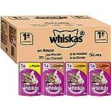 Whiskas 1+ Kattenvoer, Natvoer, voor Gezonde Vacht, in Verschillende Smaken, 84 Porties (84 x 100 g)